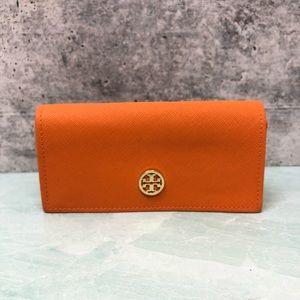 Tory Burch bright orange sunglass case